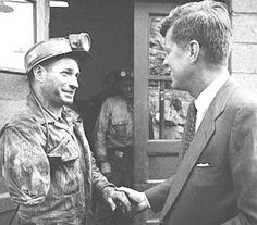 Campaign of 1960~~April 1960: JFK shakes hands with a one-arm coal miner while campaigning in Mullens, WV. Photo/Hank Walker. ♡❀❁❤❁❤❁❤❁❤❁❤❀♡ http://www.jfklibrary.org/JFK/JFK-in-History/Campaign-of-1960.aspx