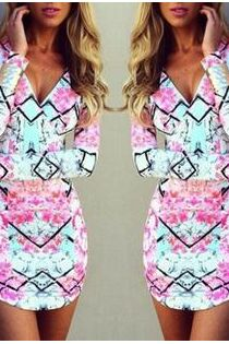 Summer fashion temperament v-neck long-sleeve positioning printed long-sleeved dress JM