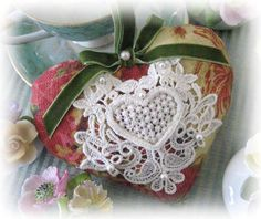 Sachet Heart Heart Sachet Brick Red Venise Lace by CharlotteStyle, $12.50