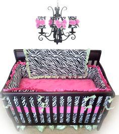 Tour de lit zèbre et rose - Zebra/Hot Pink & Lime Crib Bedding Zebra Nursery, Baby Zebra, Girl Nursery, Girl Room, Baby Room, Nursery Ideas, Room Ideas, Custom Baby Bedding, Crib Sets