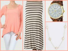 #Cinnaryn Freeloader French Terry Hoodie in Peach, Black and White stripe maxi, Boyfriend Watch, Joy Filigree Necklace