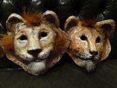 Paper mache papier mache animal mask Lion mask by MiesmesaBerni, $64.00