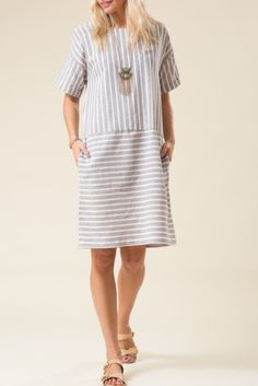 Striped Boxy Linen Dress