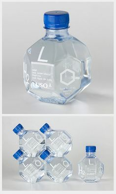 A great use of geometric form is found here in this bottle design. The many sides of this bottle design create a playful and intriguing aspect on the design. The shape of this bottle design is very eye catching and effective. Water Packaging, Cool Packaging, Bottle Packaging, Brand Packaging, Design Packaging, Packaging Ideas, Innovative Packaging, Plastic Packaging, Innovative Products