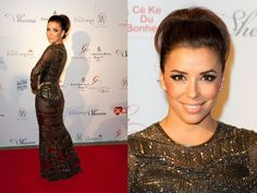 Right back into the swing of things with Eva Longoria in Reem Acra at Global Gift Gala!    She kept it simple with slicked back hair and smokey eyes.   Similar feel to how gown was presented on Fall 2012 runway!