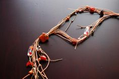 Handmade necklace made of wire, with variety of metal, glass and ceramic beads. by Kosmisis on Etsy Handmade Necklaces, Handmade Gifts, Ceramic Beads, Wire, Ceramics, Trending Outfits, Stylish, Metal, Unique Jewelry