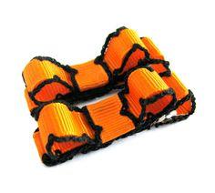 Halloween Hair Bow - orange with burnt edges