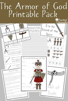 Your kids will love this armor of God printable pack! They will go through each part of the armor, learn what it means, and apply it to their lives! (Free one week only) Bible verses Bible Study For Kids, Bible Lessons For Kids, Kids Bible, Armor Of God Lesson, Bible Object Lessons, Bible Activities, Preschool Bible, Rainbow Activities, Preschool Activities
