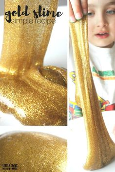Make gold slime with our liquid starch gold glitter glue slime recipe. Kids love making slime and its a great chemistry lesson and sensory play activity all in one! Easy slime recipe that makes awesome slime in minutes and no borax powder needed.