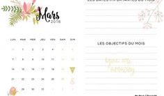 Le calendrier de mars 2016