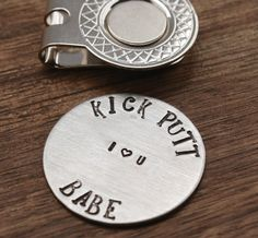 Kick Putt Babe Golf Ball Marker, Mens Gift, Boyfriend Gift, Golfer Gift, I Heart You, For Him, Husband Gift, Guy Gift, Valentines | Comes with a hat clip