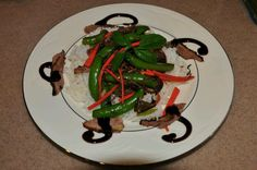 Roasted duck, snap peas, carrots stirfried