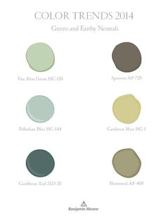 Greens and Earthy neutrals, part of Benjamin Moore Color Trends 2014 palette - palladian blue :) Hall bath? Benjamin Moore Colors, Benjamin Moore Paint, Interior Paint Colors, Paint Colors For Home, Interior Painting, Paint Colours, Painting Tips, House Painting, Painting Walls
