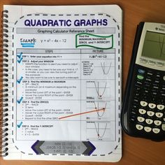 Graphing calculator reference sheet on quadratic graphs - min/max, zeros, and y-intercept. Very useful for an interactive notebook!