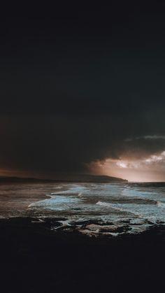 Storm on the beach. Dark. Landscape photography.