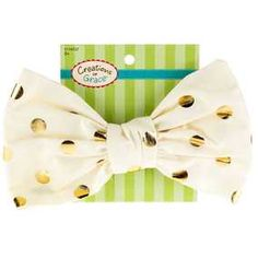 Ivory & Gold Dot Large Bow Clip