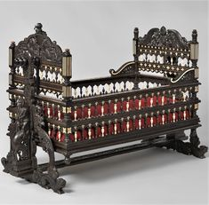 CRADLE Indian craftsmen often mixed Asian design with European form to create unique furniture pieces like this ebony baby cradle. The intricate carvings depict Hindu mythological creatures, such as the pair of mermaids on the headboard. Indian Furniture, Art Deco Furniture, Retro Furniture, Baby Furniture, Furniture Layout, Classic Furniture, Unique Furniture, Furniture Design, Furniture Logo