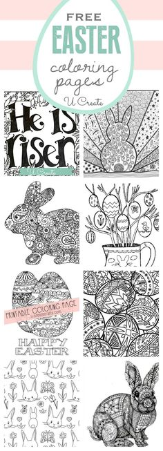 Free Easter Coloring Pages (U Create) The free Easter Coloring Pages are here! You can't walk into a store without seeing those popular adult coloring books everywhere and today I'm sharing a fun variety — Easter style! You can hang or fr Easter Art, Hoppy Easter, Easter Crafts For Kids, Easter Ideas, Easter Bunny, Free Easter Coloring Pages, Easter Colouring, Adult Coloring, Coloring Books