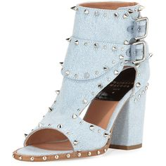 Laurence Dacade Deric Studded Denim Sandal (14.995.350 IDR) ❤ liked on Polyvore featuring shoes, sandals, open toe shoes, open toe high heel shoes, light blue shoes, block heel shoes and studded sandals