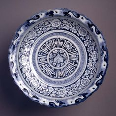 Jingdezhen ware dish Glazed porcelain Centimetres: 7.7 (height), 47 (outside diameter) 1333-1368 AD Late Empire I; Yuan Dynasty; mid-14th century AD Area of Origin: China Dr. Herman Herzog Levy Bequest Fund 994.38.1 ROM