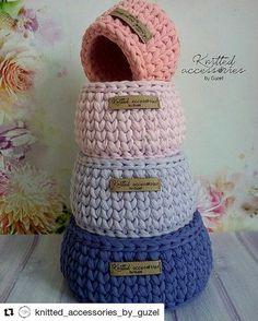 Diy Crochet Basket, Knit Basket, Finger Knitting, Loom Knitting, Crochet Home, Crochet Yarn, Knitting Projects, Crochet Projects, Cotton Cord