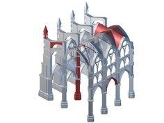 Schematischer Aufbau eines gotischen Gewölbes