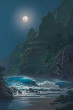 Painting of the Moon over Ocean ocean art waves sea moon drawing painting Beautiful Moon, Beautiful World, Beautiful Places, Shoot The Moon, Moon Pictures, Ocean Pictures, Moon Magic, Photos Voyages, Nocturne