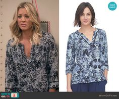 Penny's blue floral split-neck blouse on The Big Bang Theory.  Outfit Details: https://wornontv.net/52609/ #TheBigBangTheory