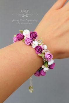 Gold Standard Porcelain China Value Polymer Clay Kunst, Polymer Clay Charms, Polymer Clay Earrings, Cute Jewelry, Boho Jewelry, Jewelry Crafts, Handmade Jewelry, Flower Jewelry, Flower Bracelet