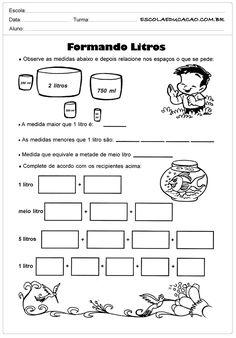 Atividades medida de capacidade formando litros - Escola Educação Bullying, Homeschool, Bullet Journal, Education, Pet Shop, Montessori, Capacity Activities, Infant Activities, Math Notebooks