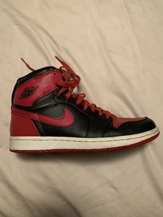 NIKE AIR JORDAN 1 RETRO HIGH OG Bred Toe SIZE 8.5 RED AND BLACK  fashion   clothing  shoes  accessories  mensshoes  athleticshoes (ebay link) a89217cd4