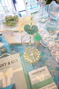 Tiffany & Co. themed birthday party with So Many GORGEOUS IDEAS via Kara' s Party Ideas | Cake, cupcakes, favors, printables, games, and MORE! KarasPartyIdeas.com #tiffanyandcoparty #tiffanys #partydecor #partyplanning #partystyling (8)