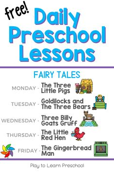 Free Daily Preschool Lessons on Fairy Tales
