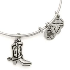 7b72533ee5a Alex and Ani Cowboy Boot Expandable Wire Bangle Russian Silver Annie  Bracelets