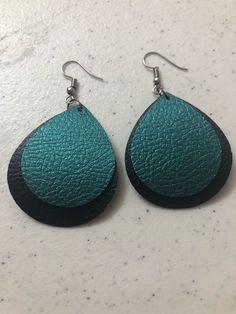 Black & Blue Faux Leather Earrings by Masonzcrafts on Etsy https://www.etsy.com/listing/592680882/black-blue-faux-leather-earrings