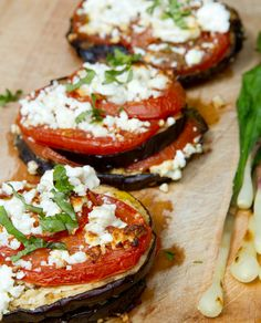 Bread-less Bruschetta - Grilled Eggplant with Tomatoes & Feta Cheese. OR some Goat Cheese.
