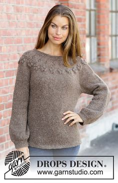 Flor de Canela / DROPS - Knitted sweater with round yoke in DROPS Nepal or Air. Piece is knitted top down with lace pattern and bobbles. Size: S - XXXL Drops Design, Sweater Knitting Patterns, Free Knitting, Knit Cardigan, Jumper, Magazine Drops, Lace Patterns, Crochet Clothes, Pulls