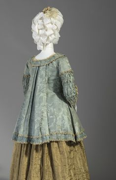 Woman's Caraco Jacket France, circa 1775 Costumes; ensembles Silk satin and silk plain weave (damask) with silk fly fringe and lace
