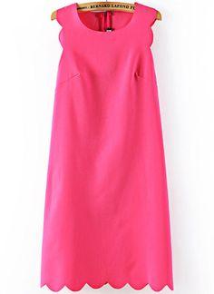 robe+A+ligné+motif+zigzag+sans+manche+-rouge++EUR