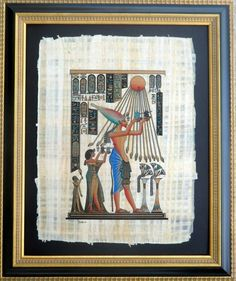 """$199 for This is a Museum Quality painting that is hand-painted on fine, authentic Egyptian papyrus by the famous Egyptian artist """"Adel Ghabor"""". Framed in an exquisite gold natural wood frame, with intricate borders, and striking elaborate relief details, this painting is ready to hang in your home or office adding elegance and beauty. It is an exact replica of the more then 3200 years old original relief of the first and only monotheistic pharaoh Akhenaten."""