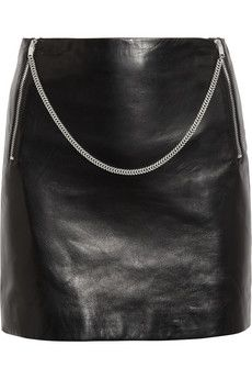 Saint Laurent Chain-trimmed leather mini skirt | THE OUTNET