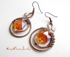 REPIN NOW for later :) New to CrazyDreamsJewelry on Etsy: Orange Copper Wire Earrings Round Wire Wrapped Earrings Wire Wrapped Jewelry Unique Earrings for Women Handmade Earrings Wire Jewelry (33.00 USD)
