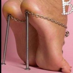 Think about this picture: Would you wear a pair of nails under your naked heels? NO!!!! (I would expect people would answer NO) Well, that's exactly what we, women, do when we wear stilettos or those new super high shoes. No good at all!!