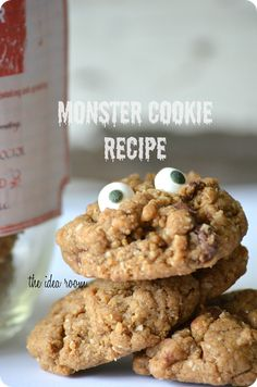 """Halloween Monster Cookie Recipe - really cute - includes all kinds of optional cookie add-ins as well as a free printable label to make an """"Eat at your own risk"""" monster cookie jar Holiday Treats, Halloween Treats, Holiday Recipes, Halloween Party, Yummy Treats, Sweet Treats, Yummy Food, Cookie Recipes, Dessert Recipes"""