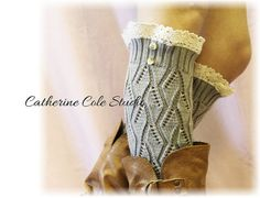Lace  leg warmers SILVER  cluny lace 2 by CatherineColeStudio, $27.50