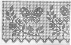 Szydełkomania: Bordiury - filet for window Filet Crochet Charts, Crochet Borders, Crochet Motif, Crochet Designs, Crochet Doilies, Crochet Patterns, Crochet Curtains, Crochet Tablecloth, Crochet Home