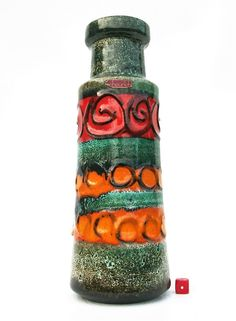 Scheurich+205-32+Vase+Fat+Lava+Era+West+German+Mid+Century+Modernist+Pop+Art