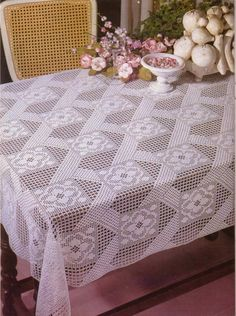 Table Cloth Crochet Pattern PDF Yarn/Wool required : No. 8 Pearl Cotton Measurements : approx 55 x 56 inches x 143 cm) This is a PDF crochet patt Crochet Tablecloth Pattern, Crochet Bedspread, Crochet Fabric, Tablecloth Fabric, Thread Crochet, Tablecloths, Filet Crochet, Crochet Motif, Crochet Doilies