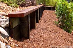 Retaining wall using oversized timbers to compliment native planting- Novato