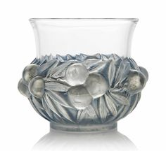 A Prunes Vase, No. 1037 designed 1930, clear, frosted and blue stained  7 in. (17.8 cm.) high - wheel-engraved R. LALIQUE FRANCE